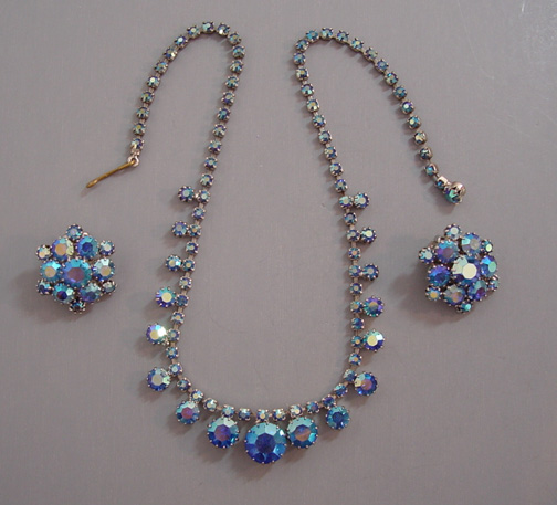 Collier Weiss en strass et cristal Swarovski (Aurora Borealis)